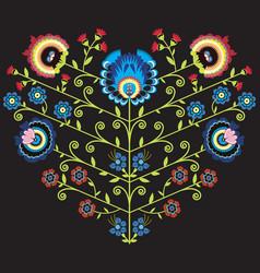 Polish folk floral pattern in heart shape on black vector image