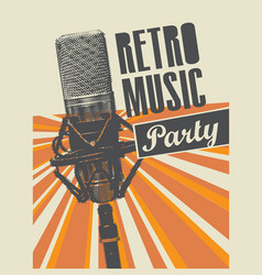 Poster for a retro party with microphone vector