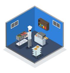 professional kitchen interior isometric vector image