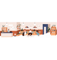 queue in vet clinic s reception people and pets vector image