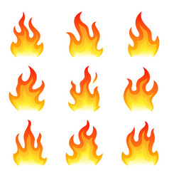 red fire flat icons set isolated on white vector image