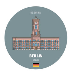 Red town hall in berlin germany vector