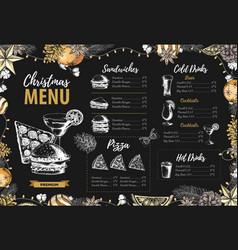 restaurant christmas holiday menu design vector image