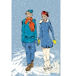 Romantic couple skating vector