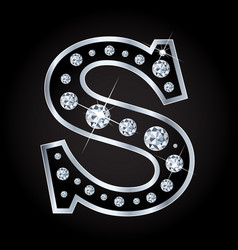 S letter made with diamonds isolated on vector