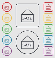 SALE tag icon sign Symbols on the Round and square vector