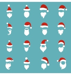 Santa hats mustache and beards icons set vector image