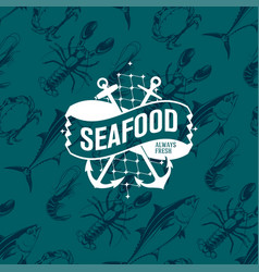seafood logo on seamless pattern with tuna shrimp vector image