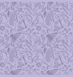 Seamless 3 pattern contour drawing on south vector
