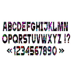set bright alphabet letters glitch art style vector image