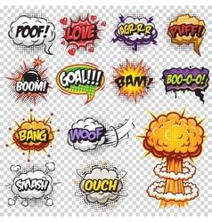 Set comics speech and explosion bubbles vector