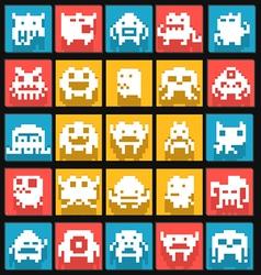 set flat pixels art monsters vector image