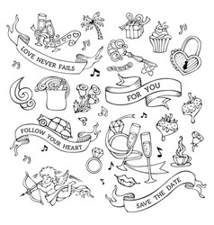 set of doodles valentines icons signs and symbols vector image