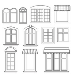 set various windows with awnings vector image