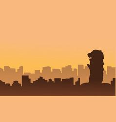 Singapore city skyline scenery silhouettes vector