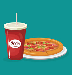soda with pizza fast food menu vector image