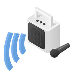 Speaker and microphone icon isometric style vector