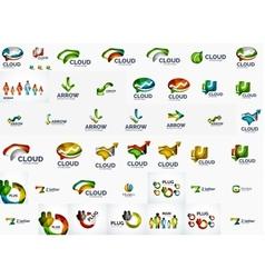 Speech bubble and arrows logo set vector