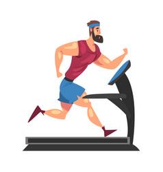 sportive muscular man running on treadmill vector image
