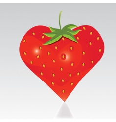 Strawberry with shape like heart vector