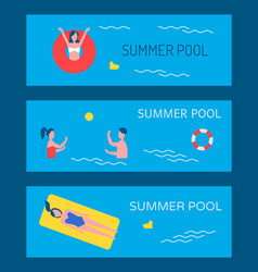 summer pool poster text set vector image