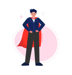 Super man in red waving cape standing with hands vector