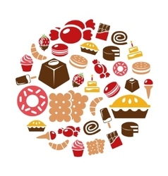 sweets icons in circle vector image