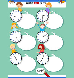 Telling time educational task with cartoon vector