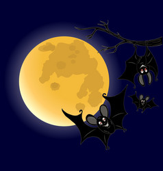 three bats on full moon background vector image