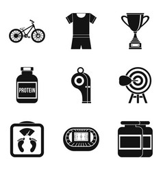 training boxing icons set simple style vector image