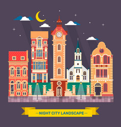 urban city night landscape town skyline flat vector image