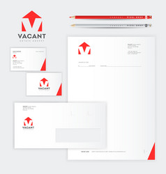 vacant logo v letter identity real estate rental vector image
