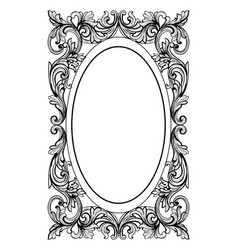 Vintage mirror oval frame french luxury vector