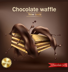 waffle with chocolate filling wrapped in spiral vector image