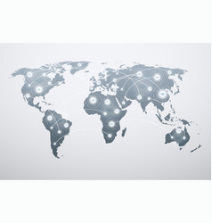 world map with global connections vector image