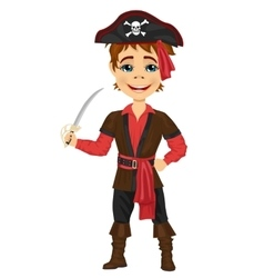 Cute kid in pirate costume holding a sword vector image
