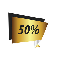 Fifty percent label origami gold silver vector