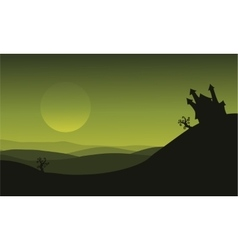 Halloween castle silhouette on green backgrounds vector image vector image
