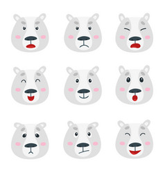 set with polar bear emotion faces isolated vector image
