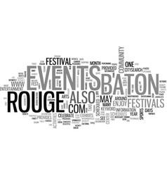 Baton rouge events text word cloud concept vector