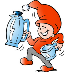 cartoon of an happy elf there runs a pitcher and vector image vector image
