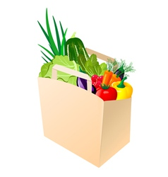paper bag with fresh vegetables vector image vector image