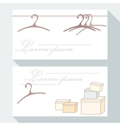 Business card set with hangers and boxes vector image