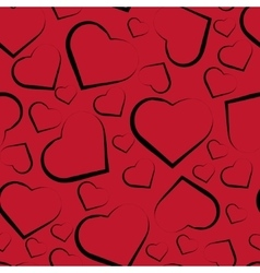 seamless pattern with hearts on red vector image vector image