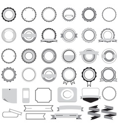 Set of sale badges labels and stickers in gray vector image vector image