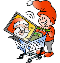 cartoon of an happy elf shopping vector image vector image