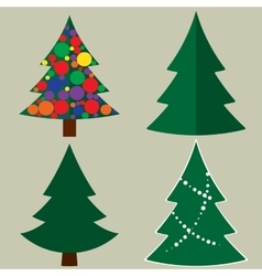Christmas tree cartoon icons set Green silhouette vector image vector image