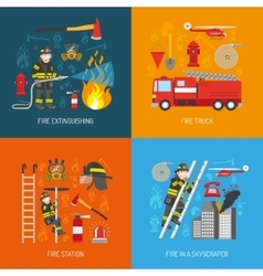 Fireman Concept 4 flat Icons Square vector image vector image