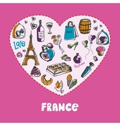 Great France Colored Doodles Collection vector image vector image