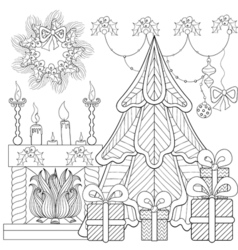 Patterned Christmas home interior with fireplace vector image vector image